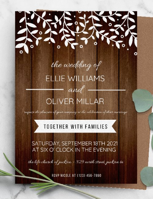 printable rustic white botanical wedding invitation template