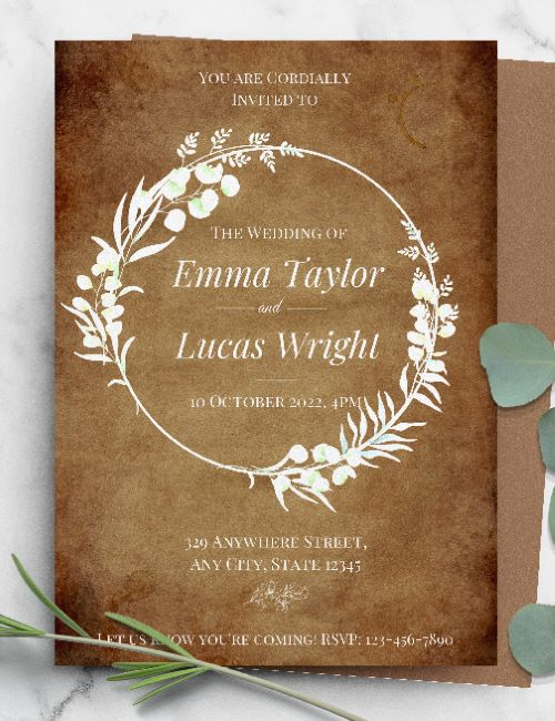 printable rustic white floral frame wedding invitation template