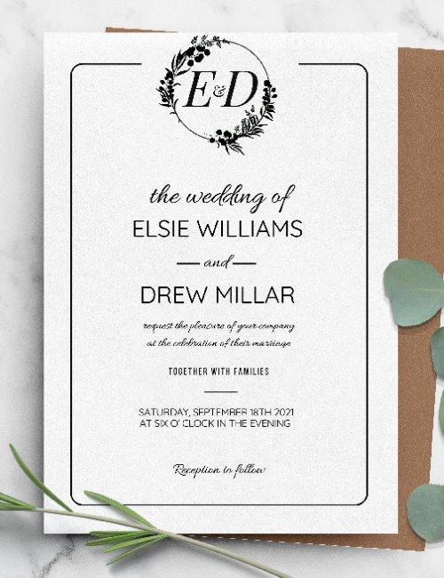printable simple elegant formal wedding invitation template