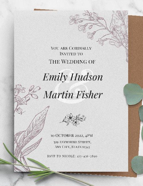 printable simple elegant wedding invitation template