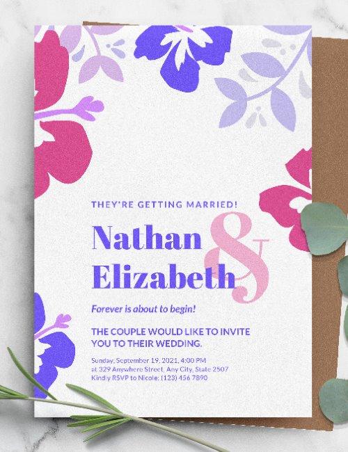 printable simple floral pink-blue wedding invitation template