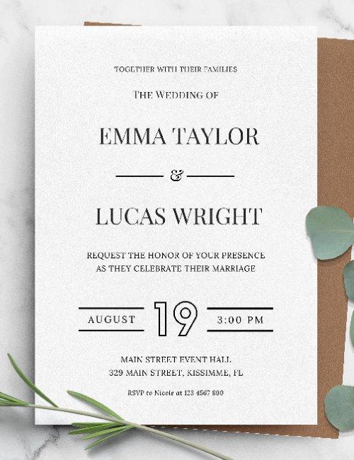 printable simple formal wedding invitation template