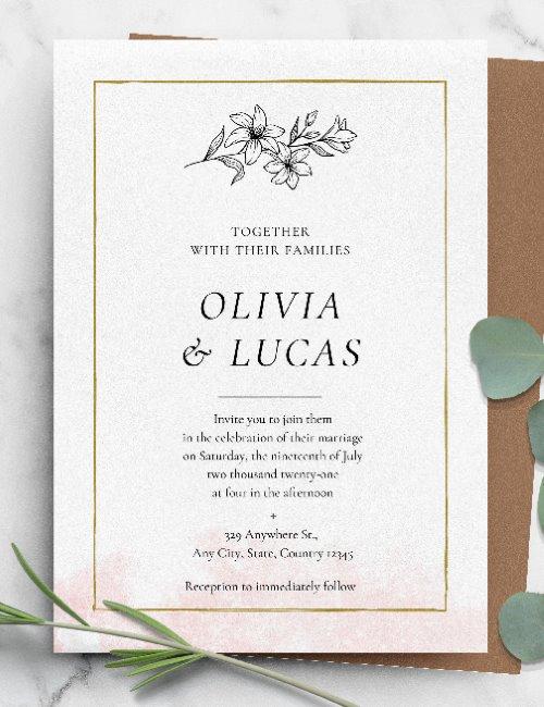 printable simple gold framed wedding invitation template