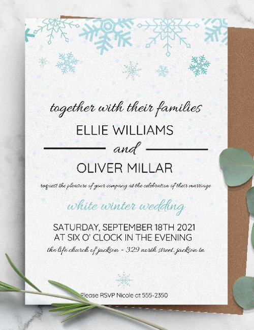 printable winter wedding invitation template
