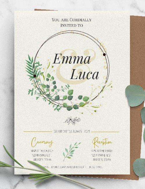 printable wreath botanical wedding invitation template