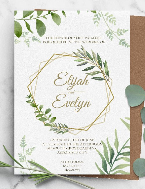 printable wreath greenery gold wedding invitation template