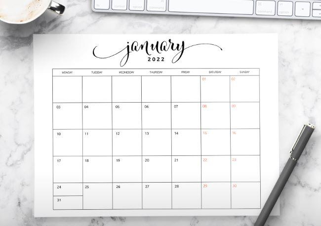 2022 calendar free printable template