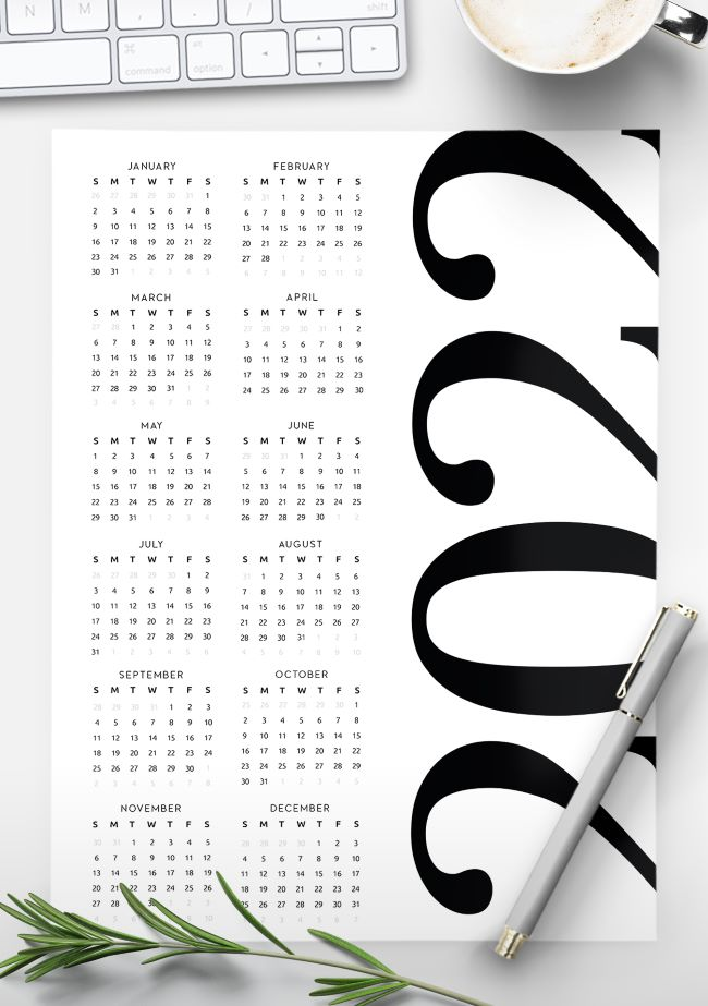 2022 printable yearly calendar template