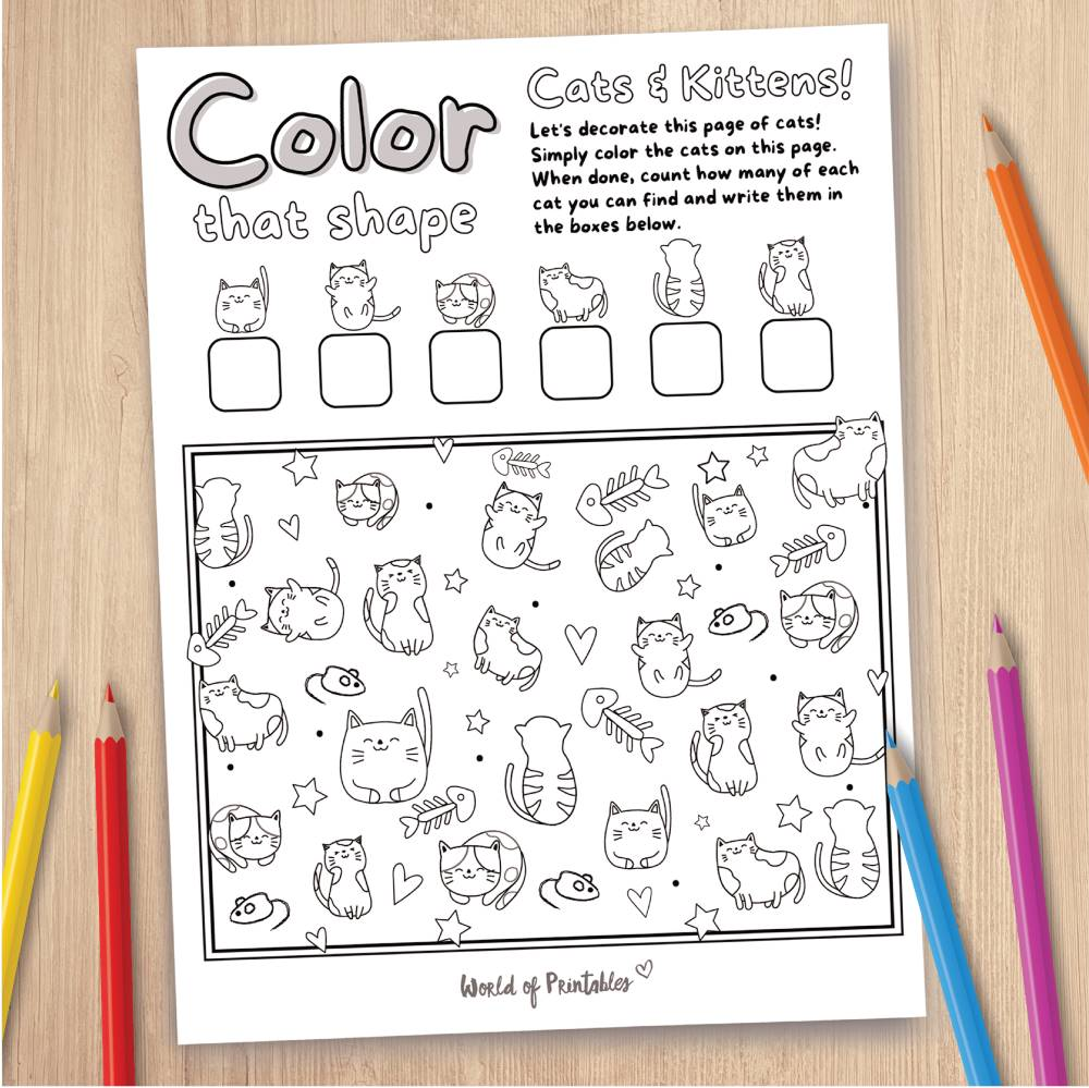 Cats and Kittens Coloring Page Game