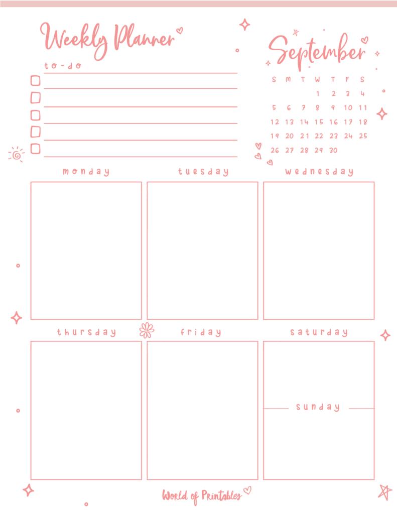 Cute September 2021 Weekly Planner Printable