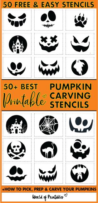 50 Free & Easy Pumpkin Carving Stencils Templates