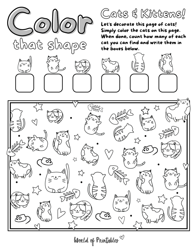 I Spy Cat Coloring Page