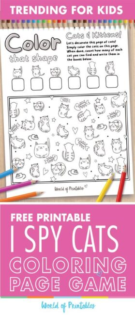 I Spy Cat Coloring Page Game