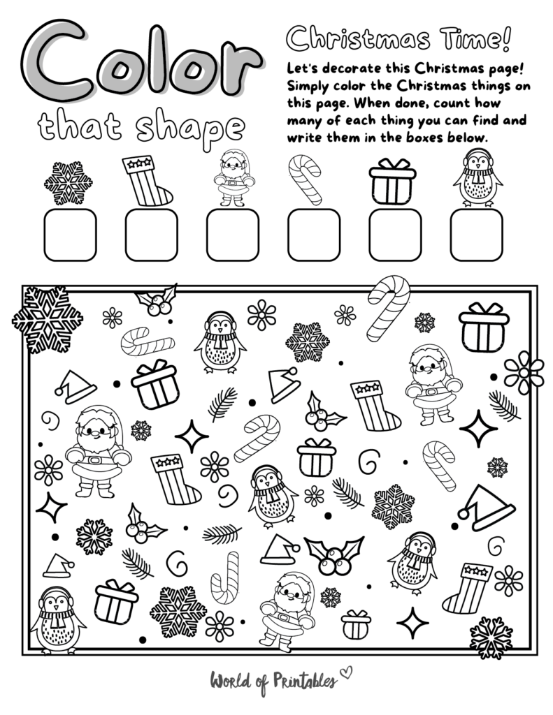 I Spy Christmas Coloring Page