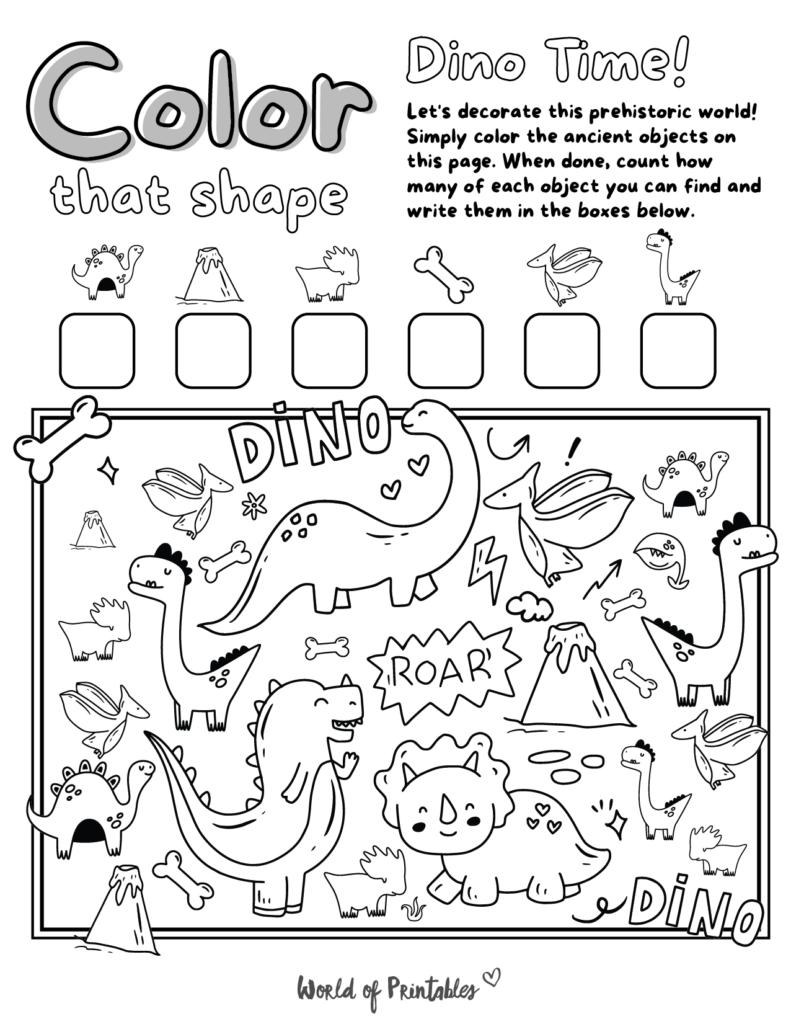 I Spy Dinosaur Coloring Page