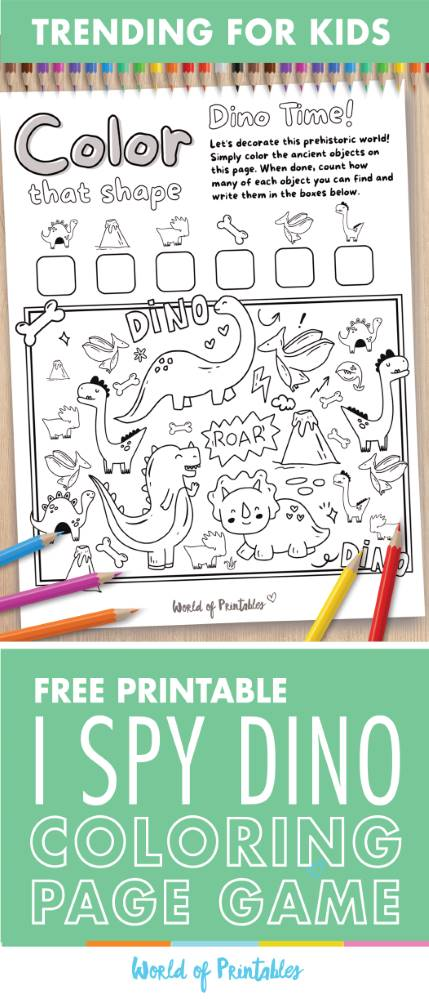 I Spy Dinosaur Coloring Page Game