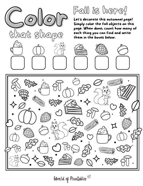 I Spy Fall Coloring Page