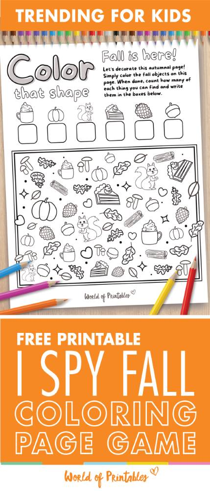 I Spy Fall Coloring Page Game