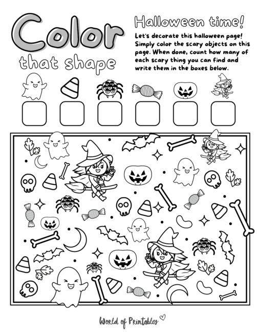 I Spy Halloween Coloring Page