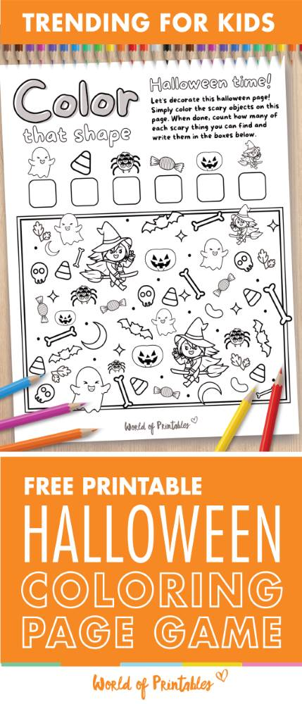 I Spy Halloween Coloring Page Game