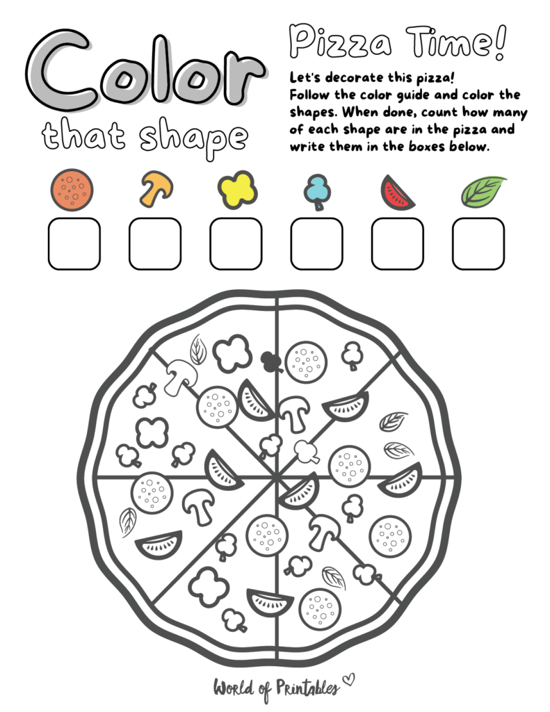 I Spy Pizza Coloring Page