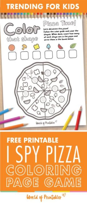 I Spy Pizza Coloring Page Game