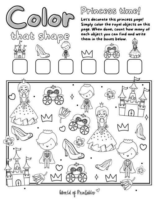 I Spy Princess Coloring Page