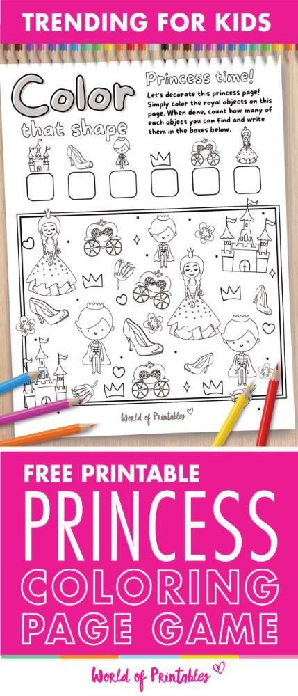 I Spy Princess Coloring Page Game