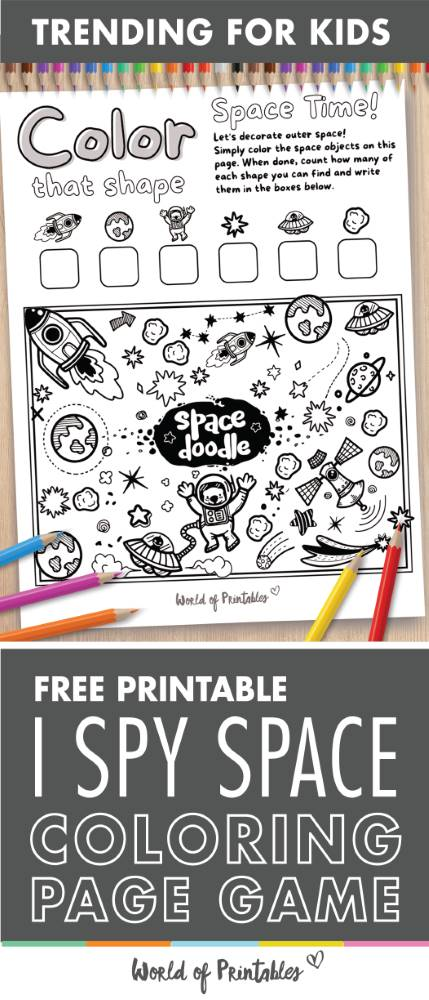 I Spy Space Coloring Page Game