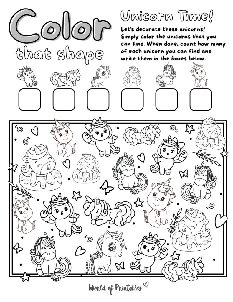 I Spy Unicorn Coloring Page