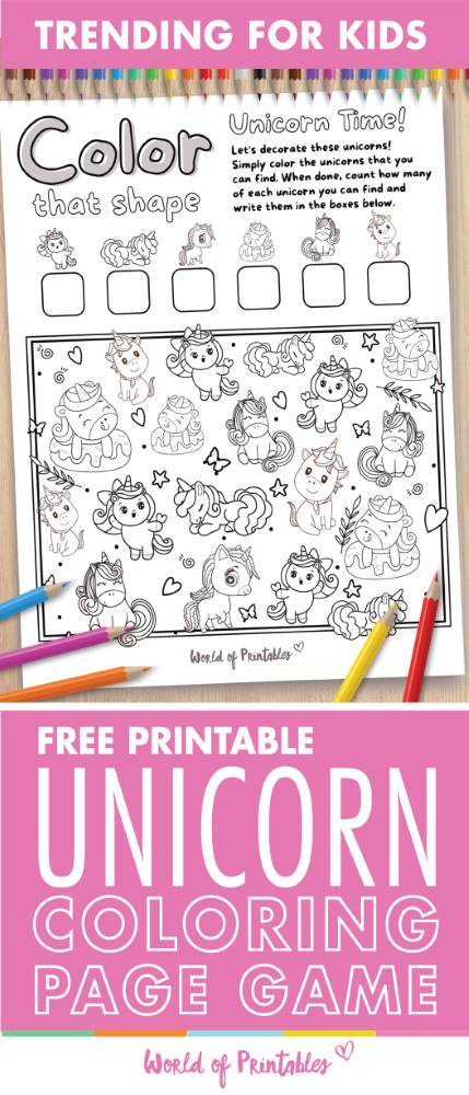 I Spy Unicorn Coloring Page Game