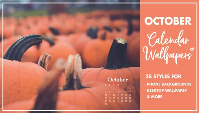 October Calendar Wallpaper Backgrounds for phones and desktop