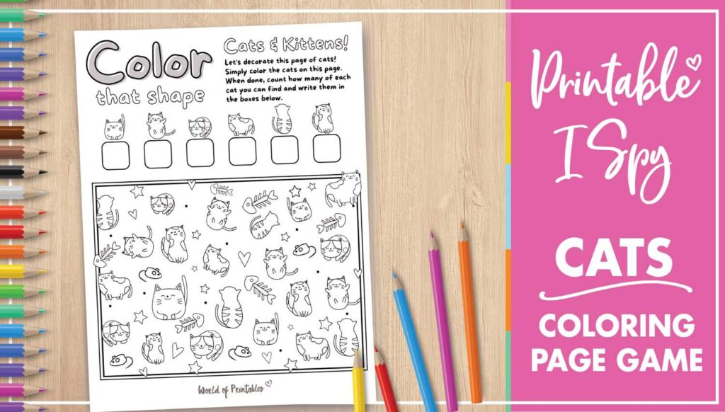 Printable I Spy Cat Coloring Page Game