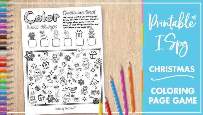 Printable I Spy Christmas Coloring Page Game