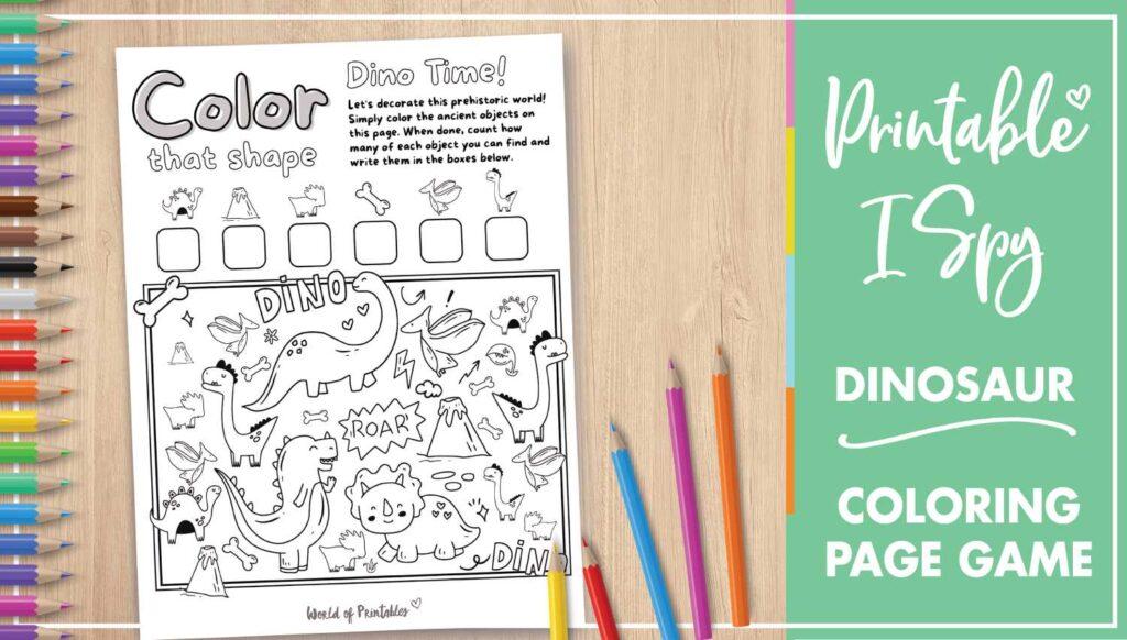Printable I Spy Dinosaur Coloring Page Game