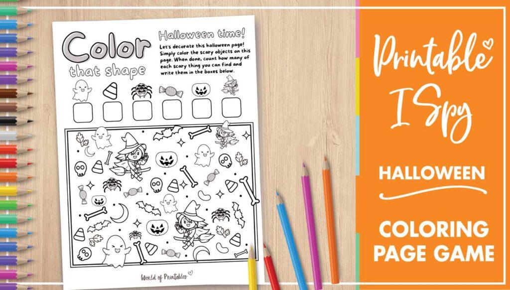 Printable I Spy Halloween Coloring Page Game