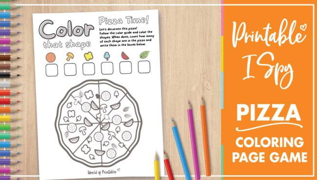 Printable I Spy Pizza Coloring Page Game