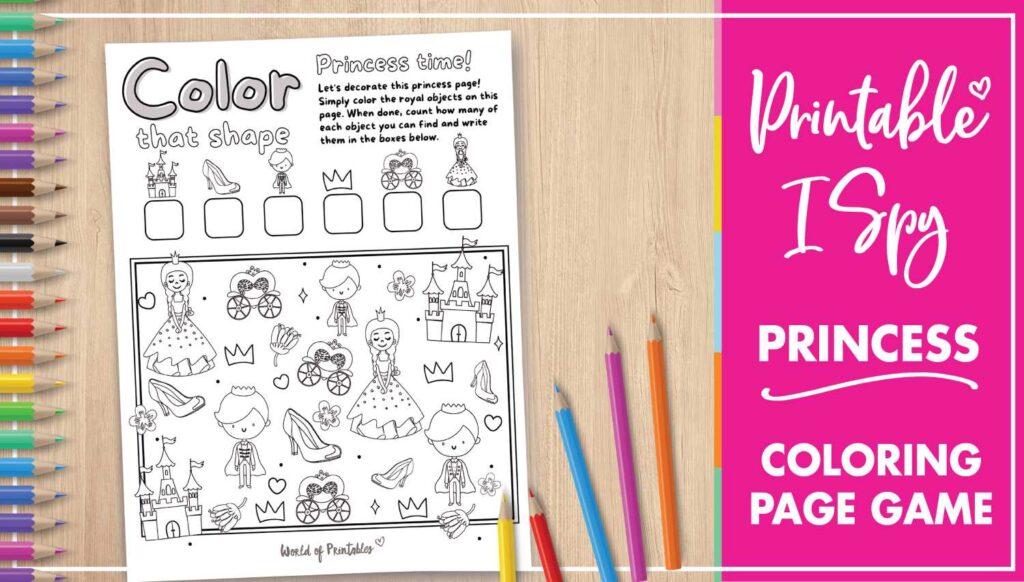 Printable I Spy Princess Coloring Page Game