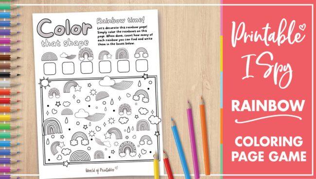 Printable I Spy Rainbow Coloring Page Game