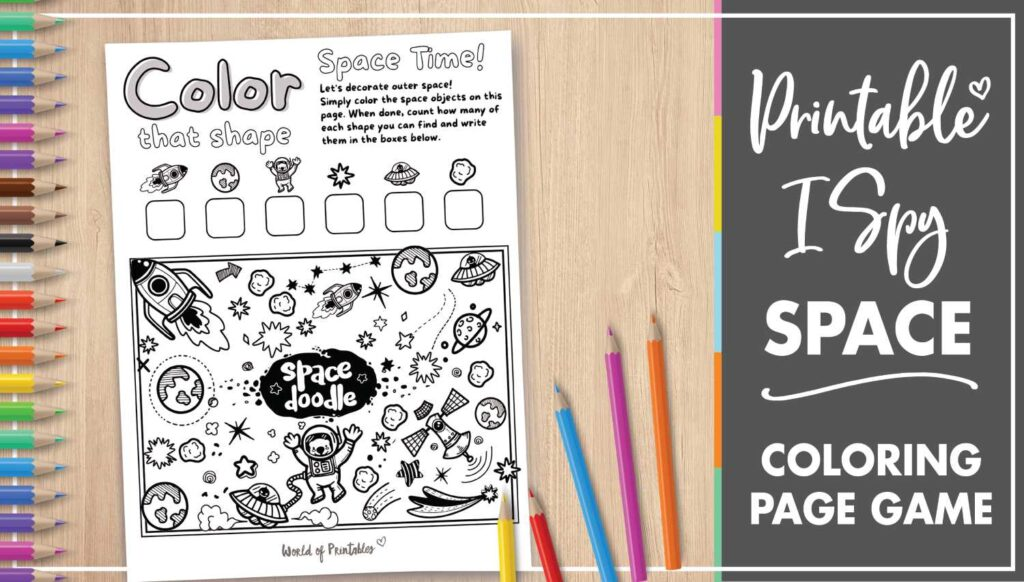 Printable I Spy Space Coloring Page Game