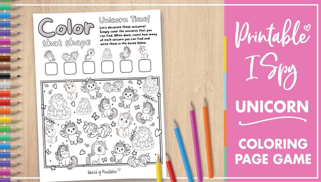 Printable I Spy Unicorn Coloring Page Game