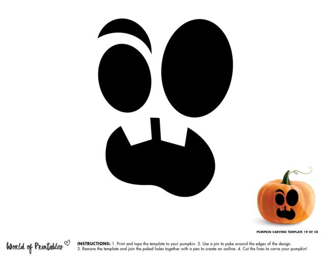 Pumpkin Carving Stencil Template - cute pumpkin face