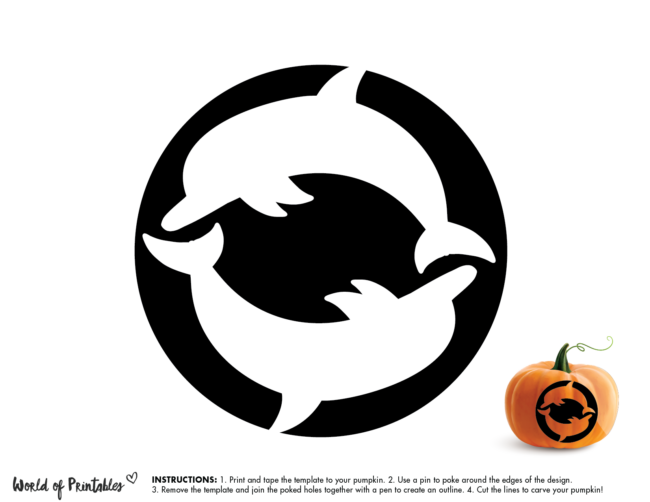 Pumpkin Carving Stencil Template - dolphins