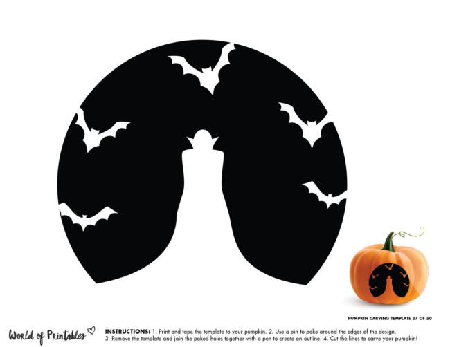 Pumpkin Carving Stencil Template - dracula and bats