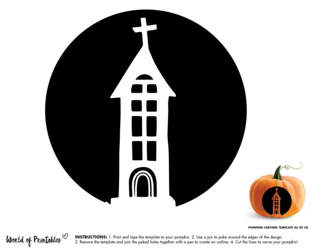 Pumpkin Carving Stencil Template - easy church
