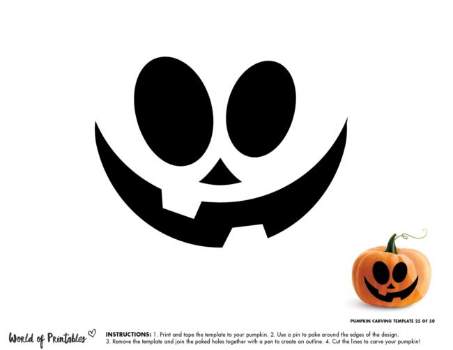 Pumpkin Carving Stencil Template - easy cute pumpkin face