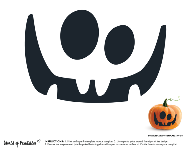 Pumpkin Carving Stencil Template - easy face