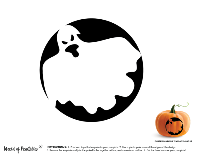 Pumpkin Carving Stencil Template - easy ghost