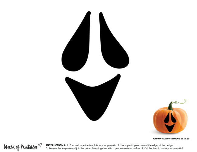 Pumpkin Carving Stencil Template - easy ghost face