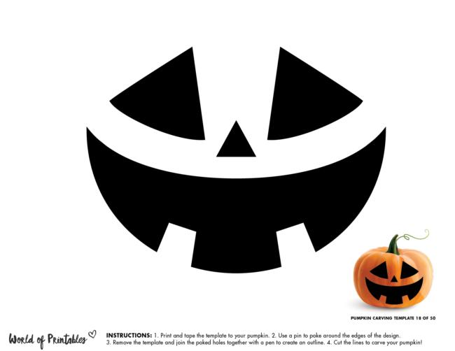 Pumpkin Carving Stencil Template - easy pumpkin face